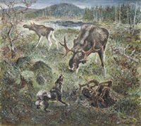 ståndskall. älgar och gråhund by folke ricklund