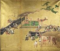 szene in einem feldlager mit zahlreichen samurai bei diversen tätigkeiten (in 3 parts) by japanese school (18)