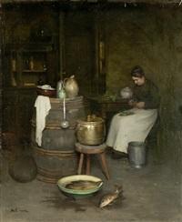 kücheninterieur mit magd by franck antoine bail