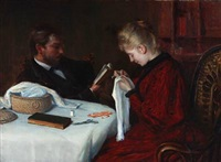 a young married couple around a table in the living room by julius christian rehder