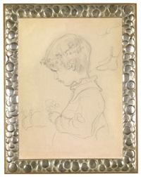 brustbild eines kindes mit blumen im haar, hand und fußstudie by gustav klimt