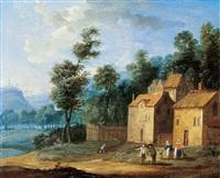 landschaft mit gehöft und figuren by jan frans van bredael the elder