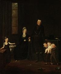 porträt einer sechsköpfigen familie in intérieur by joseph reinhart