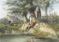 uferlandschaft mit angelnden kindern by jan gerard smith
