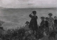 children looking out from shore by lorna fyfe reid