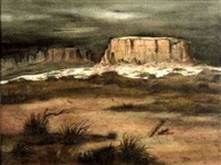 desert contrasts - black mesa at san ildefonso pueblo, new mexico by howard bobbs