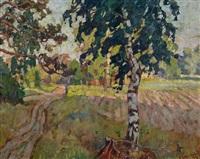 sommerlandschaft mit bäumen und einer lichtung by anatoli dmitriewitsch kaigorodoff