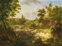 landschaft bei langnau mit zeichnendem maler by johann caspar huber