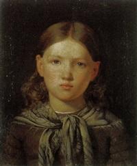 portræt af ung pige med torklæde bundet lost om halsen by frederik christian camradt