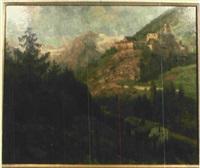 gebirgslandschaft mit burg by konrad ludwig lessing