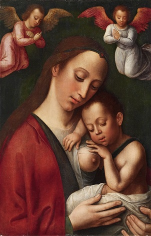 the virgin with child and angels by flemish school 16