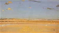 beach scene in sussex by charles sims