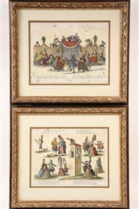 caricatures of french aristocracy (set of 6) by johann martin will