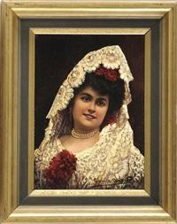 bildnis einer spanischen dame mit perl- und blumenschmuck und kunstvollem spitzenschleier by adolfo aguila y acosta