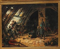 war scene, presumably from the franco-prussian war by charles merlette