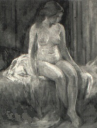 seated female nude by malcolm humphreys