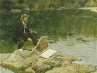 der maler am teich by francois maurice roganeau