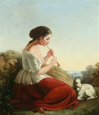 young italian woman playing the flute by rudolf w. a. lehmann