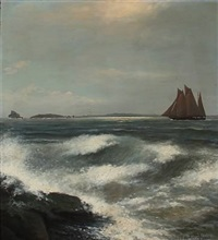 waves with a ship on the sea by alexander reich-staffelstein