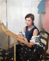spanish woman seated at a tapestry loom by lucien victor guirand de scévola