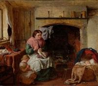 interieur mit mutter bei der näharbeit, kleinem mädchen und kind in der wiege by george smith