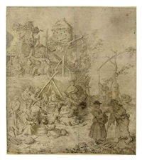a peasant encampment by willem (guilliam) de heer