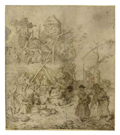 a peasant encampment by willem guilliam de heer