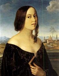 porträt einer jungen frau mit buch, im hintergrund florenz by heinrich maria von hess
