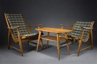 sessel (pair, + tisch; set of 3) by jacob müller