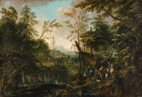 wooded landscape with hunters by german school (18)