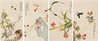 花卉 (四件) (4 works) by li qiujun, zhou lianxia, chen xiaocui, and wu qingxia