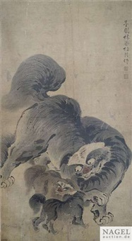 tuschmalerei mit löwenhunden by lin rong