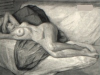 nude female reclining on a throw by malcolm humphreys