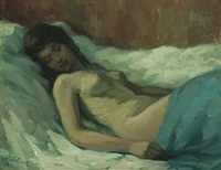 reclining naked woman by helge helme