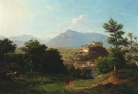 mountain scenery with a castle, salzburg by franz krüger