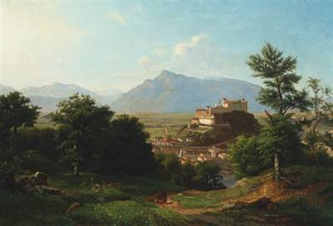mountain scenery with a castle salzburg by franz krüger
