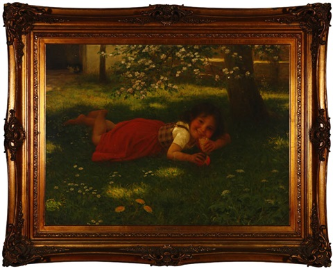 mischief a little girl eating bread under a tree by carl von bergen