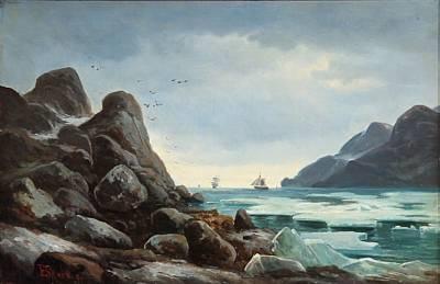drift ice (norwegian coast scene with ice at tall rocks) by edvard skari
