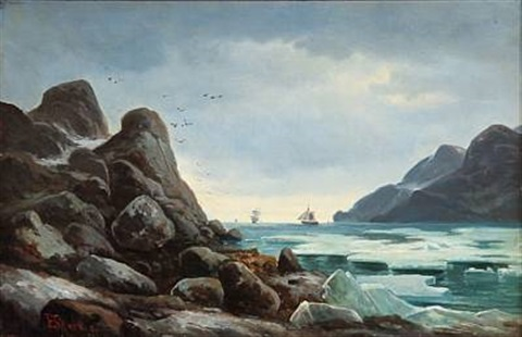 drift ice norwegian coast scene with ice at tall rocks by edvard skari