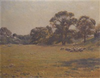 sheep grazing in a meadow by charles henry hayden