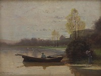 fishing on a quiet afternoon by jules tavernier
