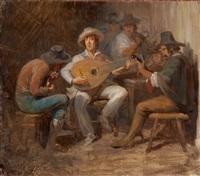 drei römische musikanten in einer taverne by alfred van (jacques) muyden