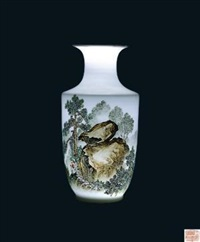 60年代景德镇艺术 (famille-rose glazed vase with design of horse) by xu huanwen