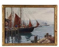 schooner at dock by arthur j. hammond