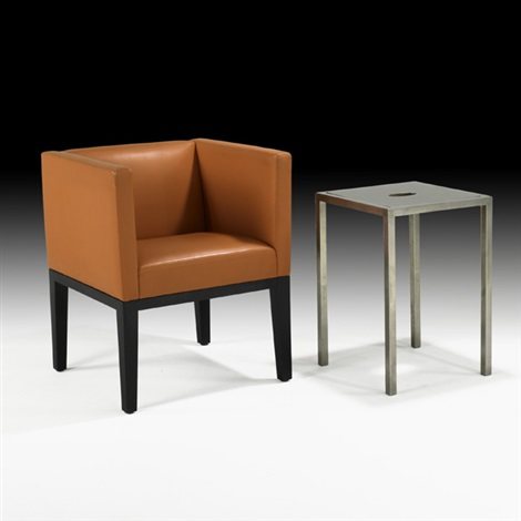 club chair and occasional table (2 works) by christian liaigre