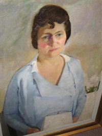 portrait of a woman in blue with white handbag by kenneth hayes miller