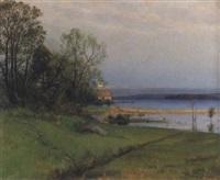 landskap med sjö - skymning by konrad simonsson