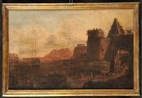 marina con insenatura portuale e piramide (+ marina con ruderi antichi e golfo con attracco; pair) by adriaen van der cabel
