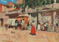 southern market place with women fetching water at a fountain by wilhelm andersen
