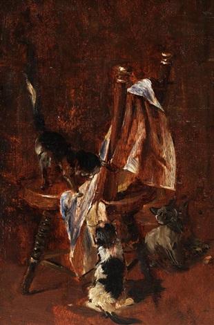 drei spielende kätzchen by julius adam the younger